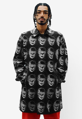 Supreme/Hellraiser Jacquard Denim Trench Coat Dashes Zip Up Knit Polo Warm Up Pant