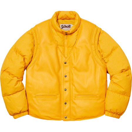 Supreme®/Schott® Down Leather Vest Puffy Jacket (Yellow)
