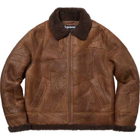 Patchwork Shearling B-3 Jacket (Brown)
