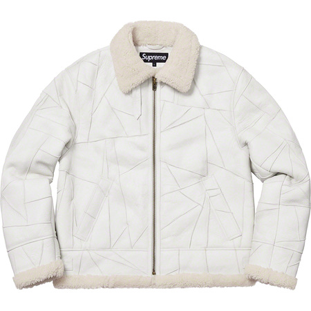 Patchwork Shearling B-3 Jacket (White)
