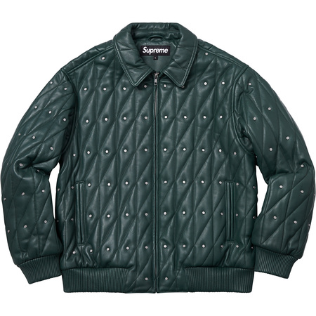 Quilted Studded Leather Jacket (Dark Green)
