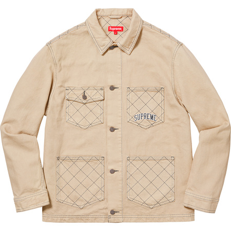 Awesome Diamond Stitch Denim Chore Coat With Beige