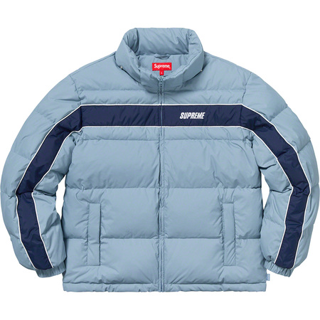 Stripe Panel Down Jacket (Light Blue)