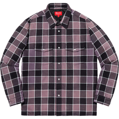 Quilted Faded Plaid Shirt (Black)