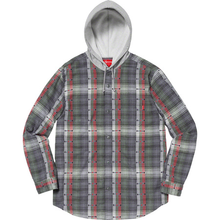 Hooded Jacquard Flannel Shirt (Navy)