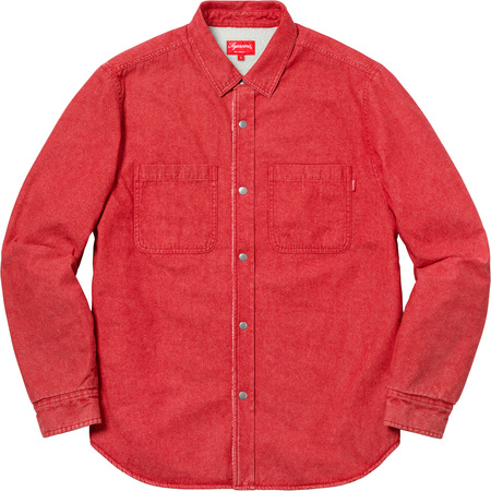 Sherpa Lined Denim Shirt (Red)