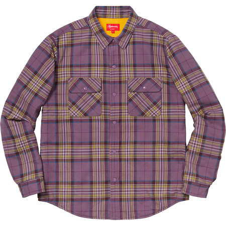 Pile Lined Plaid Flannel Shirt (Dusty Purple)