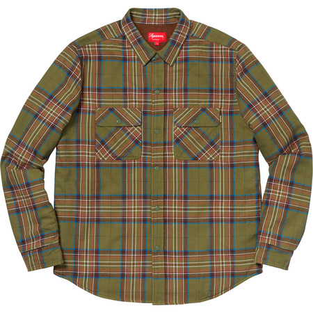 Pile Lined Plaid Flannel Shirt (Olive)