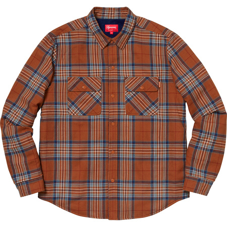 Pile Lined Plaid Flannel Shirt (Rust)