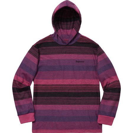Knit Stripe Hooded L/S Top (Pink)