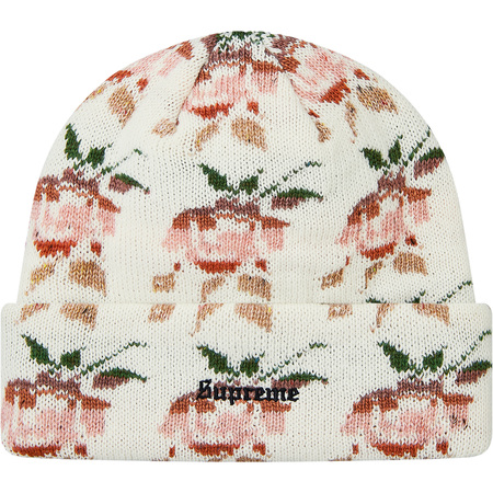 Rose Jacquard Beanie (Natural)