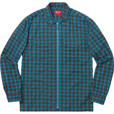 Houndstooth Flannel Zip Up Shirt (Blue)