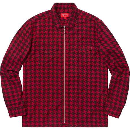 Houndstooth Flannel Zip Up Shirt (Red)