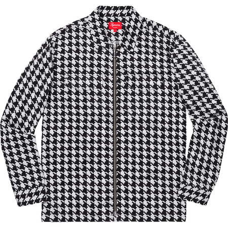 Houndstooth Flannel Zip Up Shirt (White)