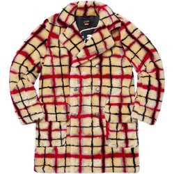 Supreme®/Jean Paul Gaultier® Double Breasted Plaid Faux Fur Coat