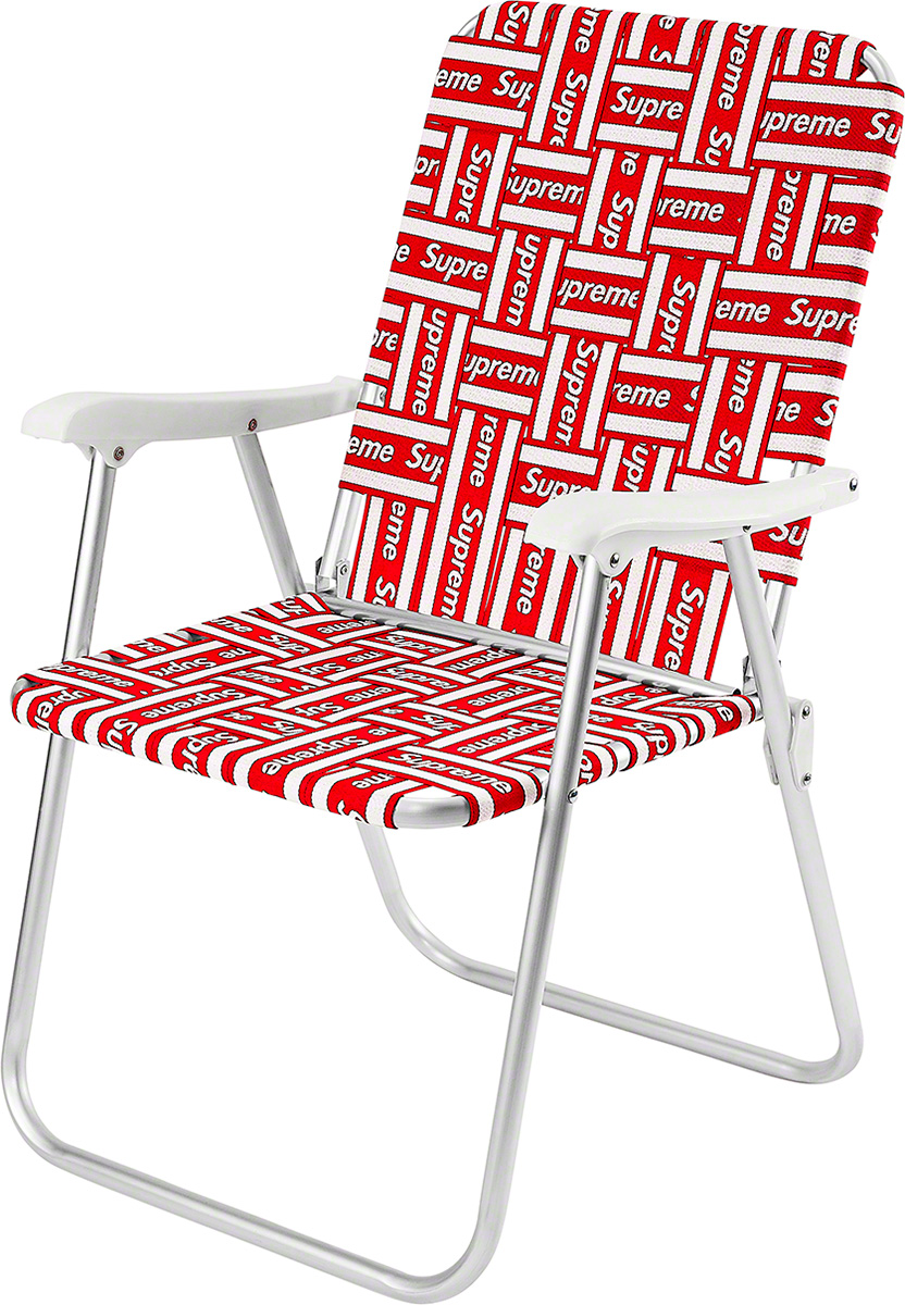 "Foldable lawn chair with aluminum frame and UV-resistant woven webbing. 33"" x 26"" x 5""."
