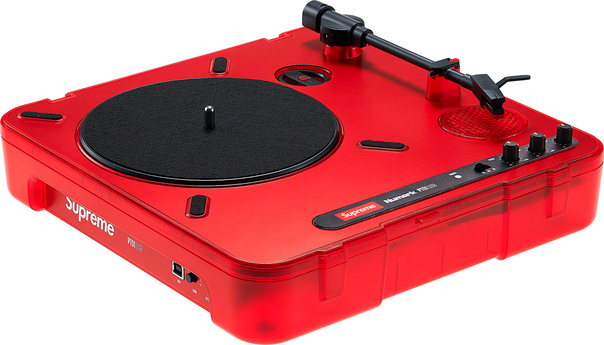 "Portable turntable with built-in speaker.  11.9"" x 11.9"" x 4""."