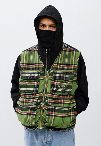 Tartan Flannel Cargo Vest Small Box Facemask Zip Up Hooded Sweatshirt Small Box Tee Stone Washed Slim Jean